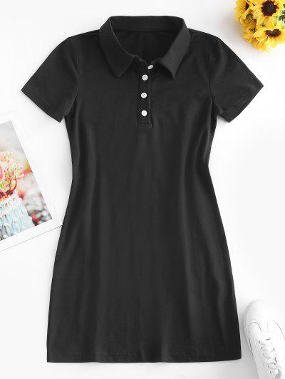 Casual Half Buttoned Mini Dress - Black M