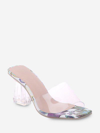 Floral Print Transparent High Heel Pumps - Purple Eu 41