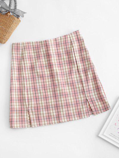 Plaid Slit Front Mini Skirt - Rose M