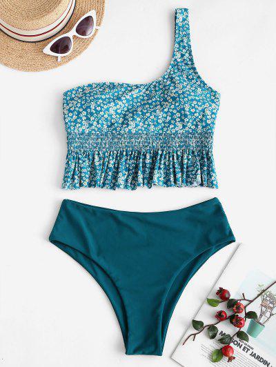 ZAFUL Ditsy Floral One Shoulder Peplum Tankini Swimwear - Peacock Blue M