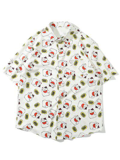 Fortune Cat Oriental Print Pocket Patch Shirt - White 2xl