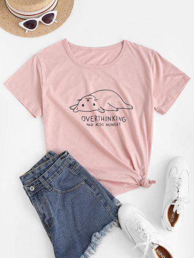 BasisFetteKatze Grafik T-Shirt - Rosa S