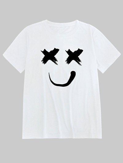 ZAFUL Smiling Print Short Sleeves T-shirt - White S