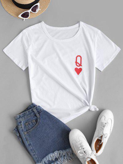 Basic Heart Q Graphic T Shirt - White M