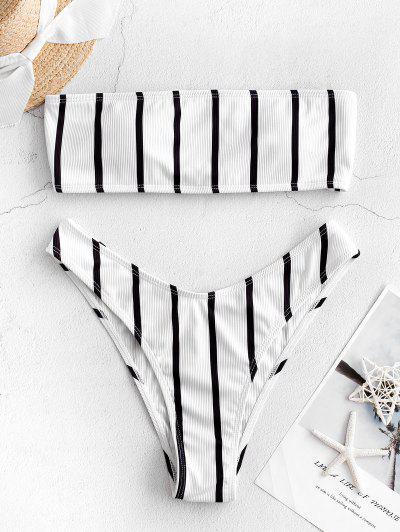 ZAFUL Striped Ribbed Lace Up Bandeau Bikini Swimwear - White M