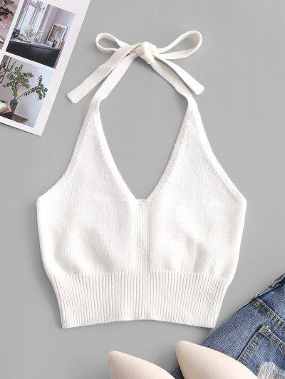 Solid Knitted Halter Crop Top - White S