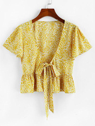 ZAFUL Tie Front Plunging Neck Ditsy Print Blouse - Yellow M