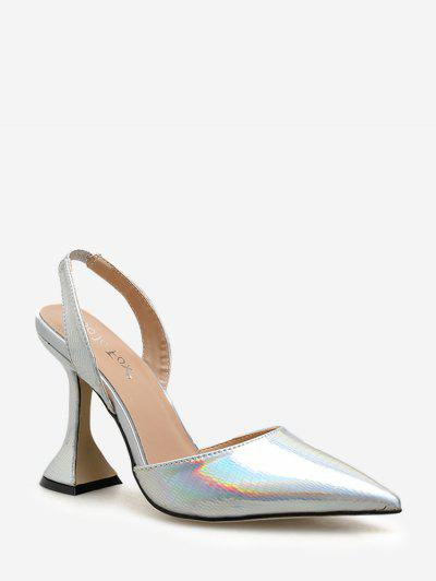 Metallic Pointed Toe High Heel Pumps - Silver Eu 38