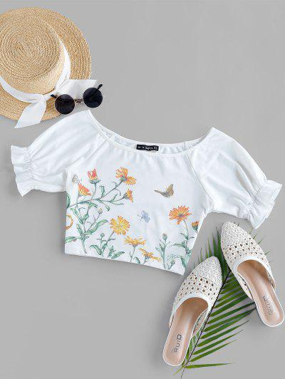 ZAFUL Puff Sleeve Floral Butterfly Print Crop Tee - White S