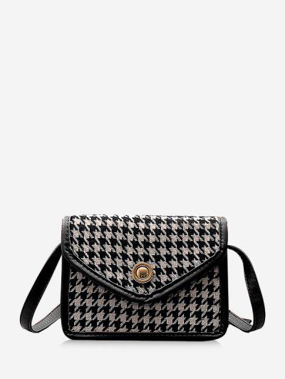 Retro Houndstooth Crossbody Bag - Black