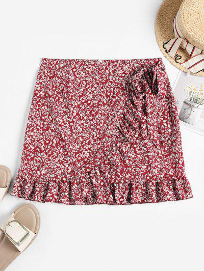 Tiny Floral Ruffles Overlap Skirt - Red M