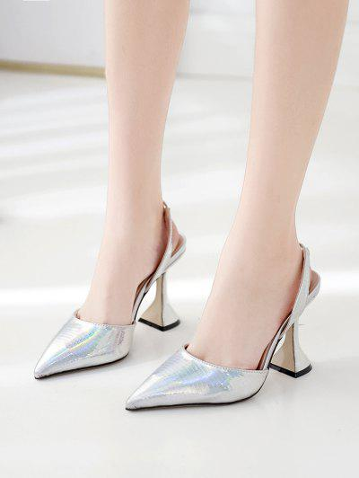 Metallic Pointed Toe High Heel Pumps - Silver Eu 41