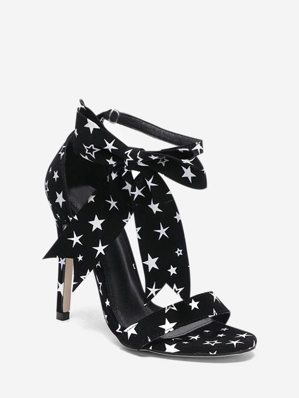 Star Print Bowknot High Heel Sandals