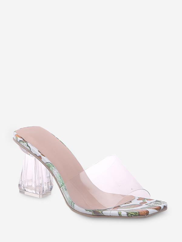 Floral Print Transparent High Heel Pumps thumbnail