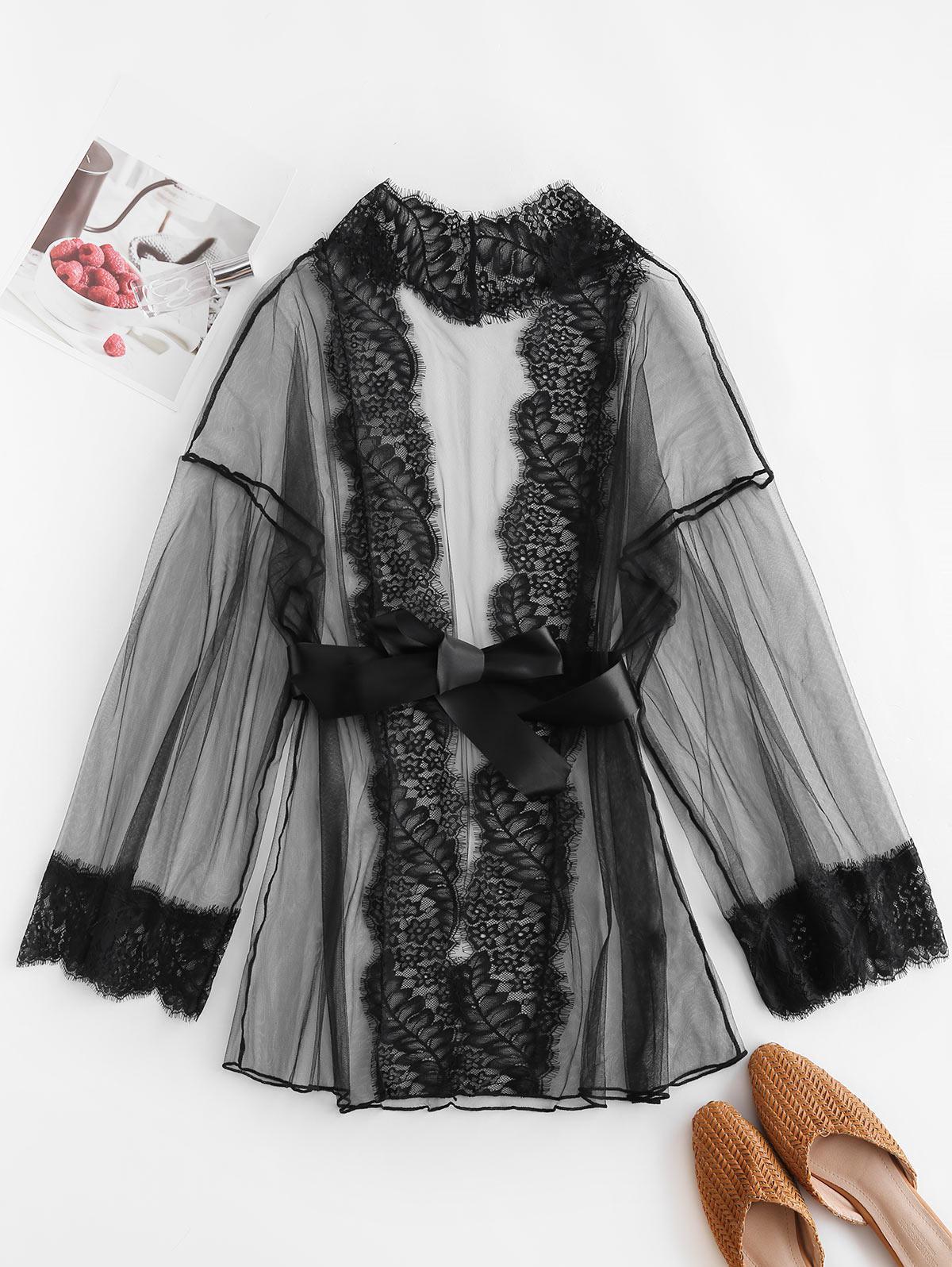 Sheer Mesh Eyelash Lace Panel Lingerie Robe