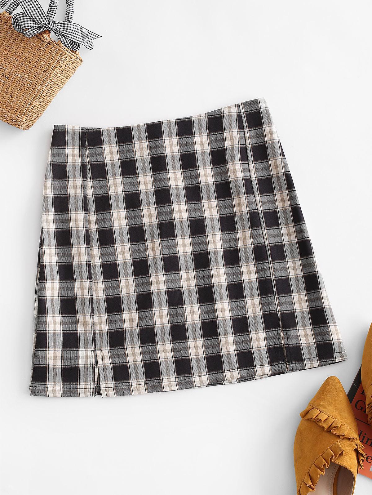 Plaid Slit Front Mini Skirt