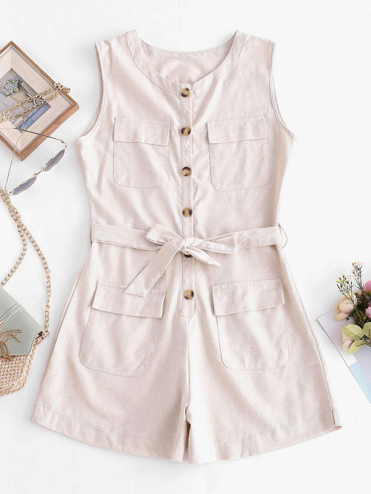 Half Buttoned Belted Flap Pockets Cargo Romper