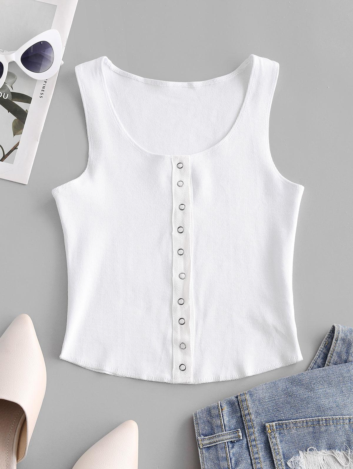 Snap Button Solid Ribbed Tank Top