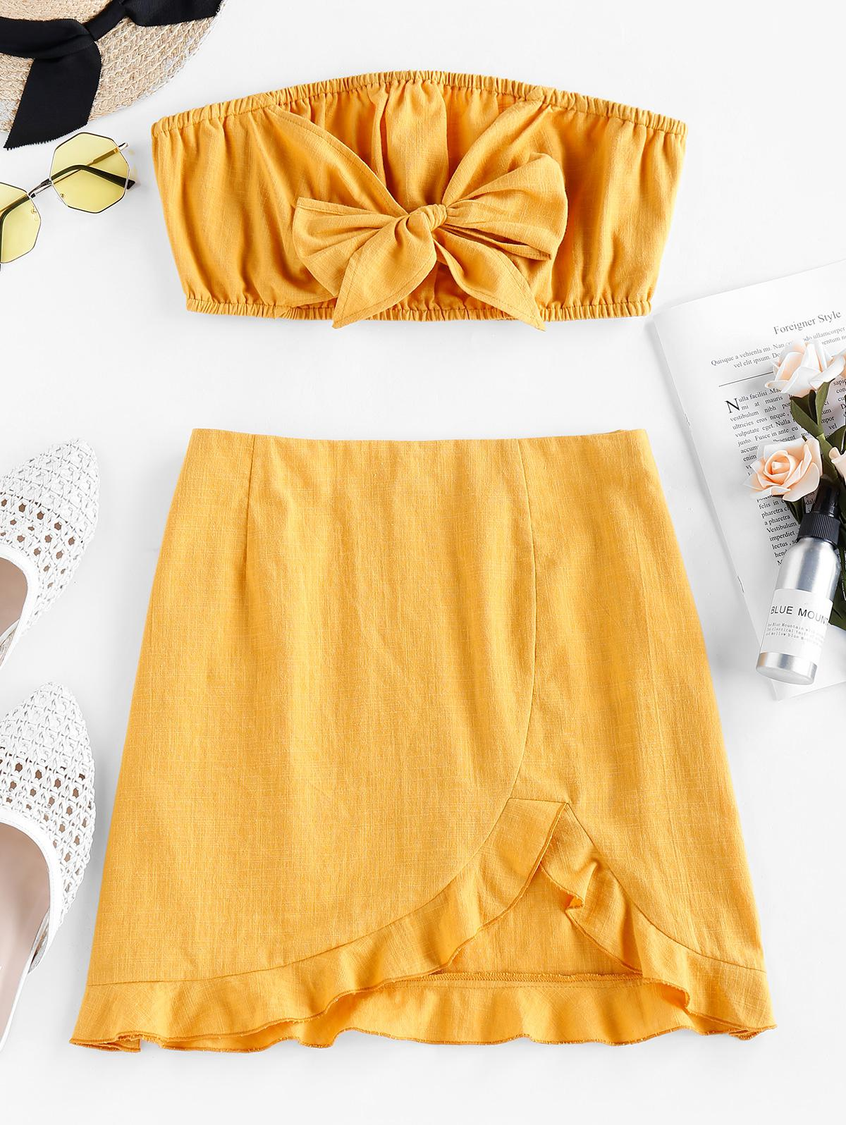 ZAFUL Bowknot Strapless Flounce Co Ord Set