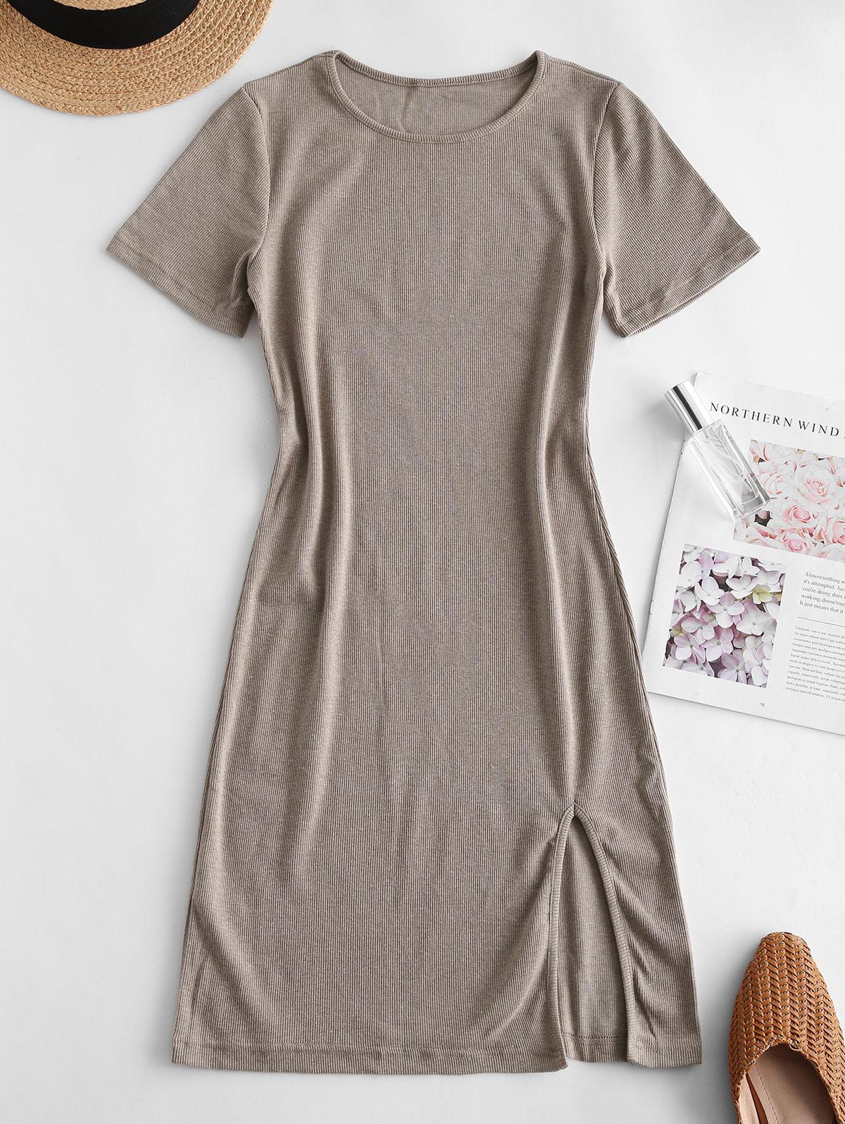 Slit Ribbed Casual Mini Dress