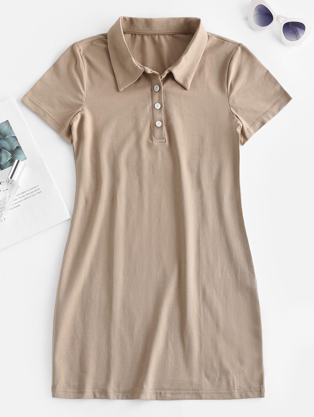 Casual Half Buttoned Mini Dress