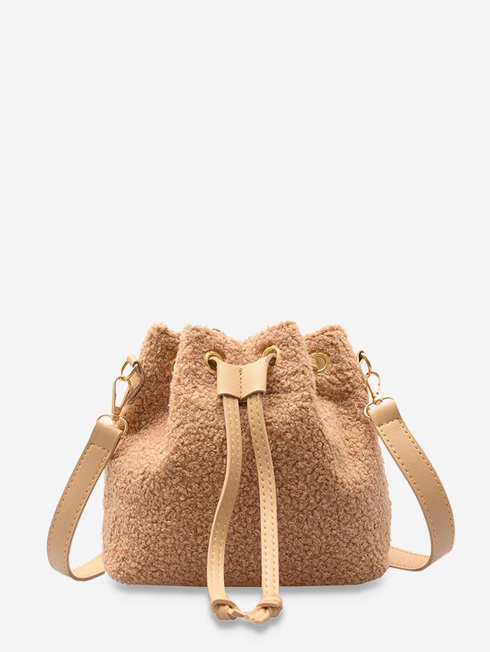 Plush Drawstring Crossbody Bag