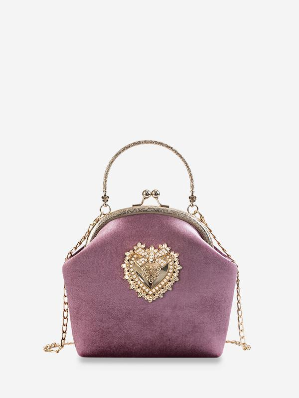 Heart Bowknot Velour Crossbody Bag