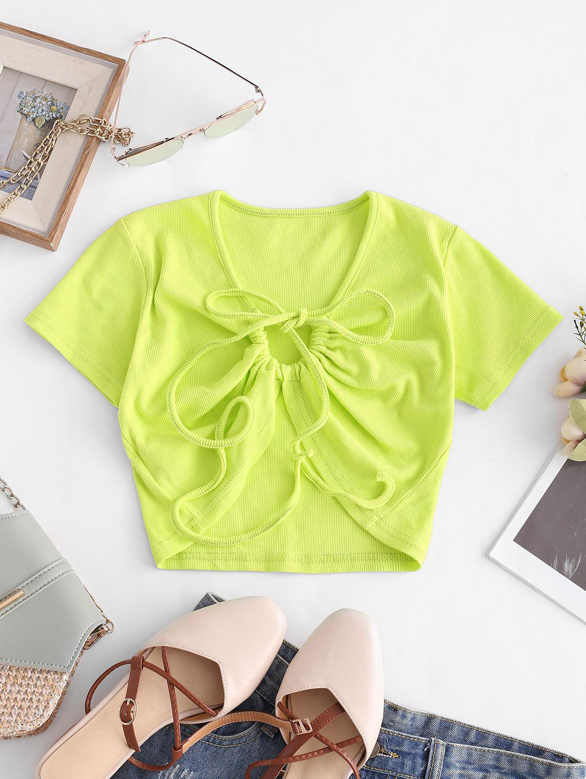 Drawstring Front Ribbed Cropped Tee