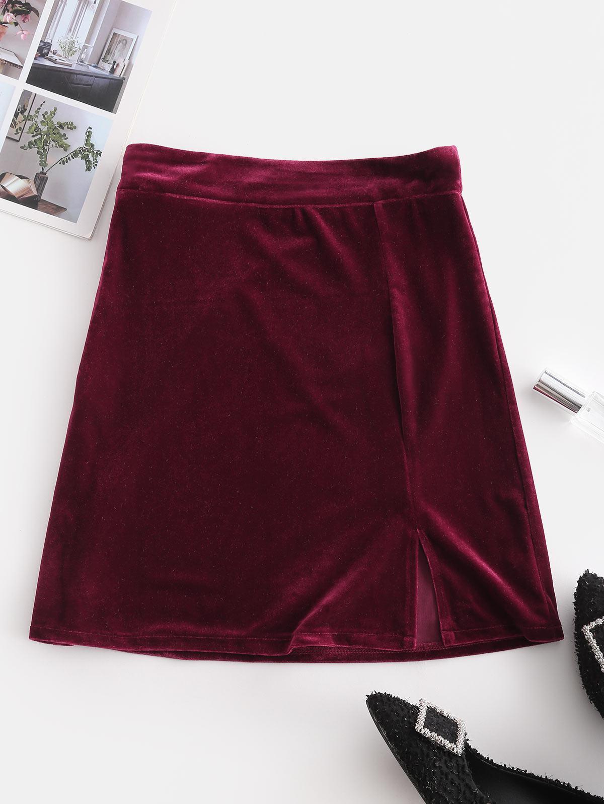 Side Zipper Slit Velvet Mini Skirt