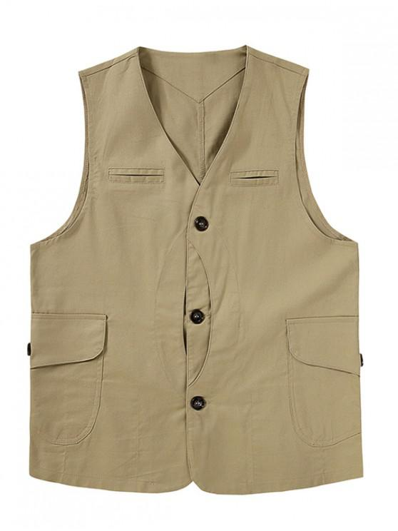 outfits Button Up Mock Pockets Casual Fisher Vest - LIGHT KHAKI 2XL