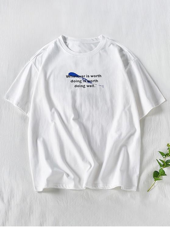 hot Short Sleeve Splatter Paint Letter Pattern T-shirt - WHITE 2XL