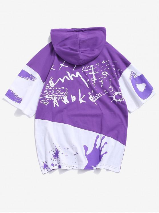 Graffiti grafic colorblock Hoodie T-shirt - Violet M