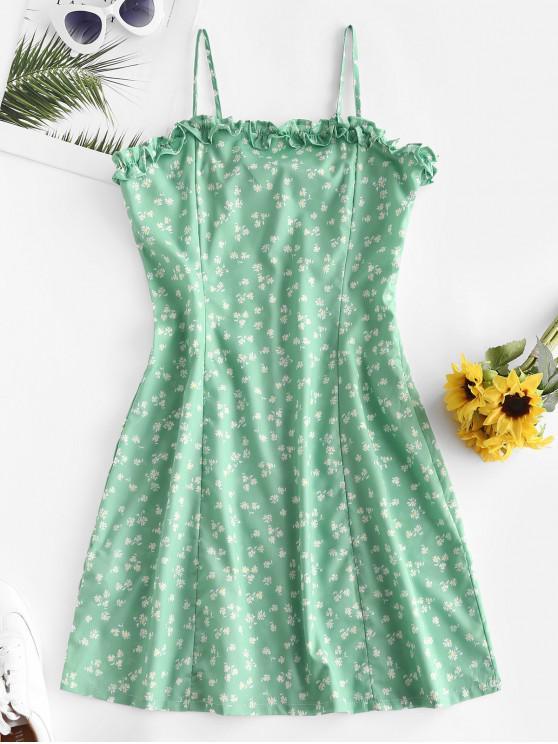 الخس تريم Ditsy الزهور كامي اللباس - أخضر S