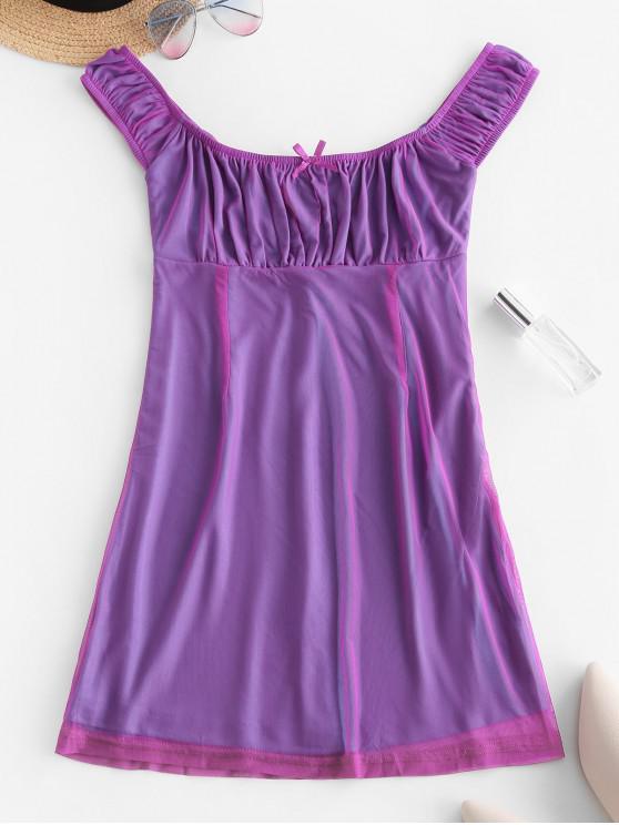 outfit Low Cut Bowknot Mesh Mini Dress - PURPLE S