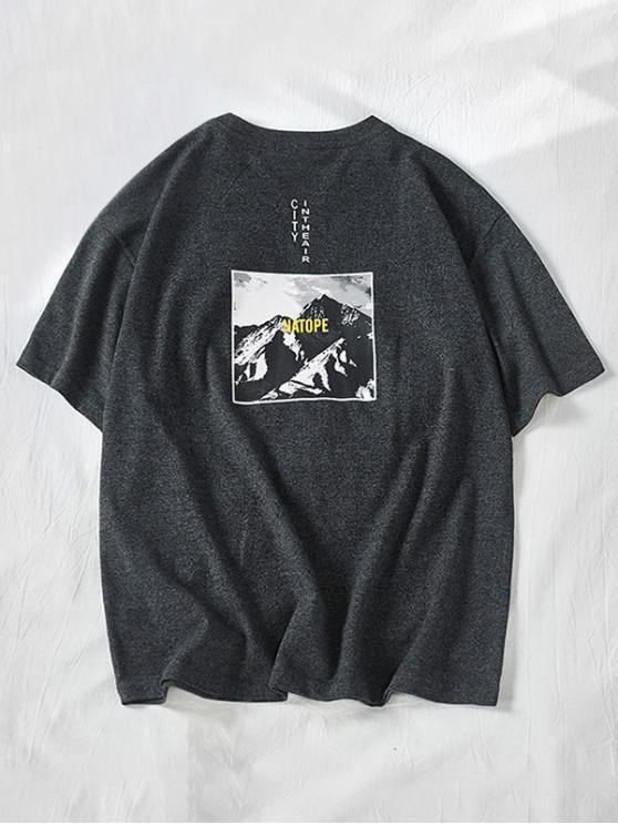 new City Mountain Print Crew Neck Tee - BLACK 2XL