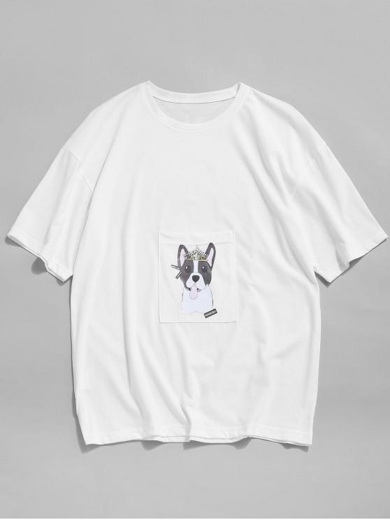 ladies Cartoon Dog Print Pocket Patch T-shirt - WHITE L