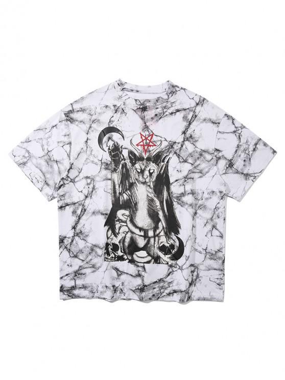 chic Animal Skull Star Graphic Marble Print T-shirt - WHITE XL