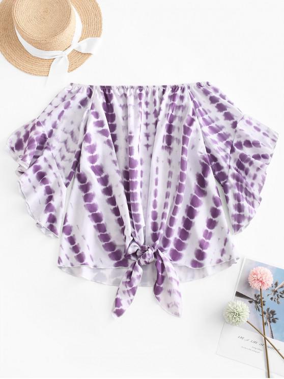 latest Off Shoulder Tie Dye Blouse - PURPLE S