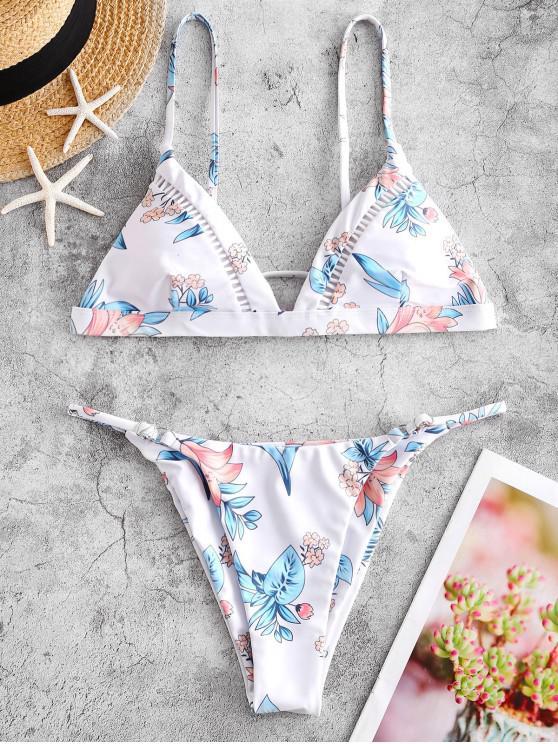 ZAFUL Costume da Bagno Bikini Annodato con Stampa Floreale - Multi Colori-A S