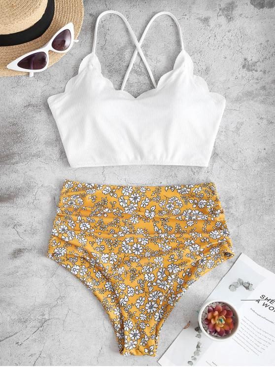ZAFUL Floral Ribbed Lace Up Tummy Control Tankini Swimwear - أبيض S
