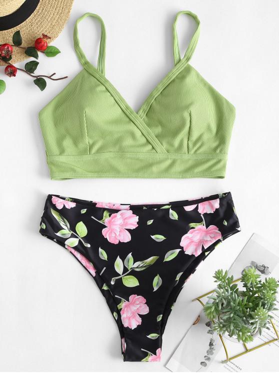 ZAFUL pețiol flori anteriu Tankini Costume de baie - Verde deschis 2XL