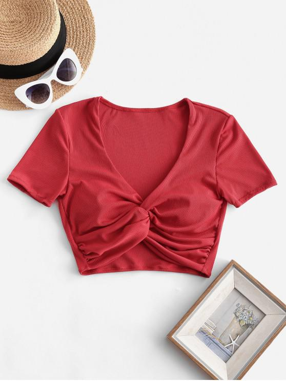 outfits ZAFUL Twist Front Ribbed V Neck Swim Top - LAVA RED S