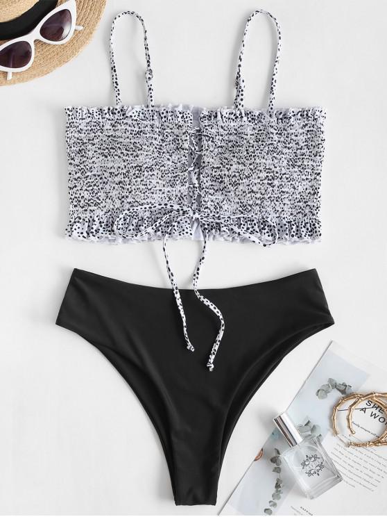 ZAFUL Costume da Bagno Bikini a Fiorellini con Lacci a Taglio Alto - Nero S