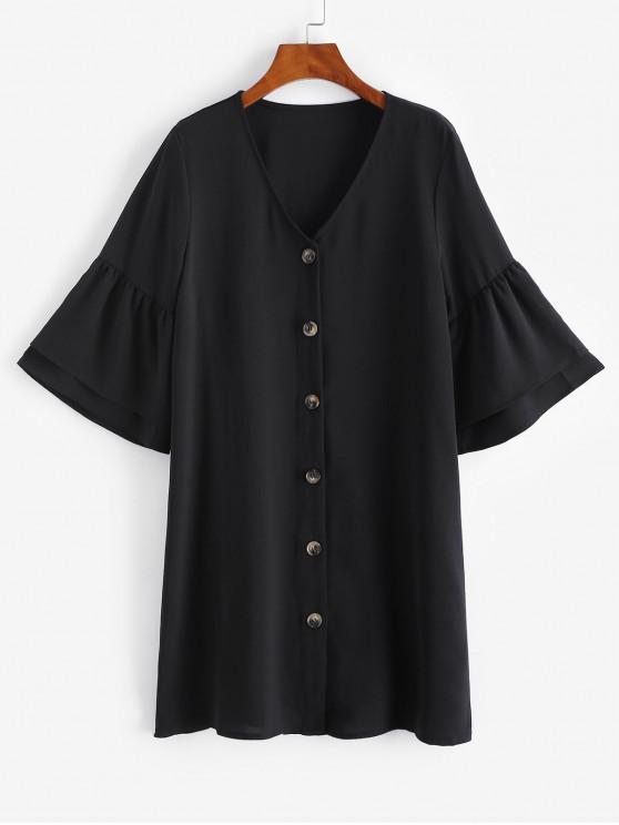 ladies Button Up Flare Sleeve Shift Dress - BLACK L