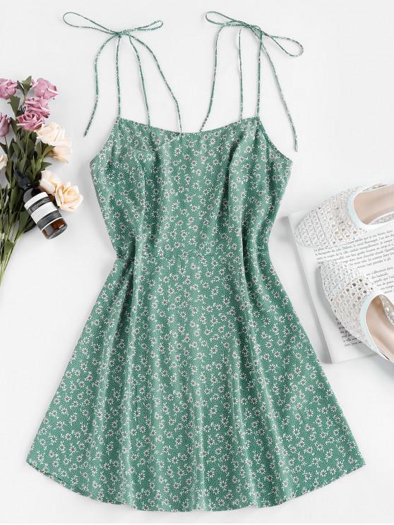 shops ZAFUL Tie Shoulder Ditsy Print Mini Dress - SHAMROCK GREEN M