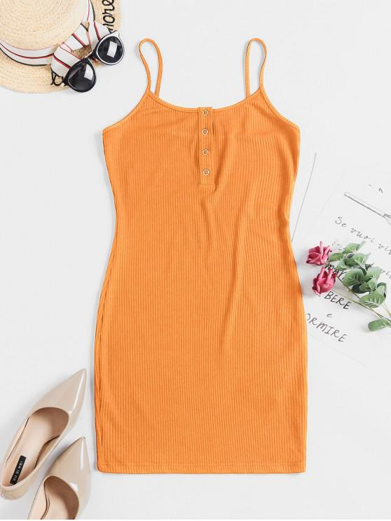 best ZAFUL Solid Color Bodycon Cami Dress - BEE YELLOW S