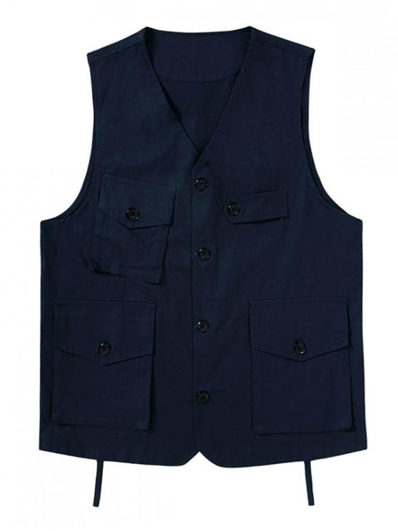 hot Plain Button Up Multi Pockets Fisher Vest - CADETBLUE XL