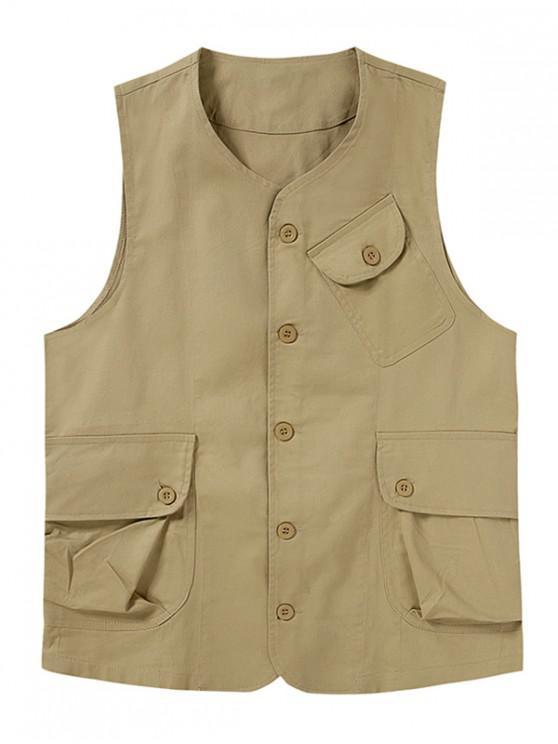 shop Plain Button Up Flap Pockets Outdoor Vest - LIGHT KHAKI XL