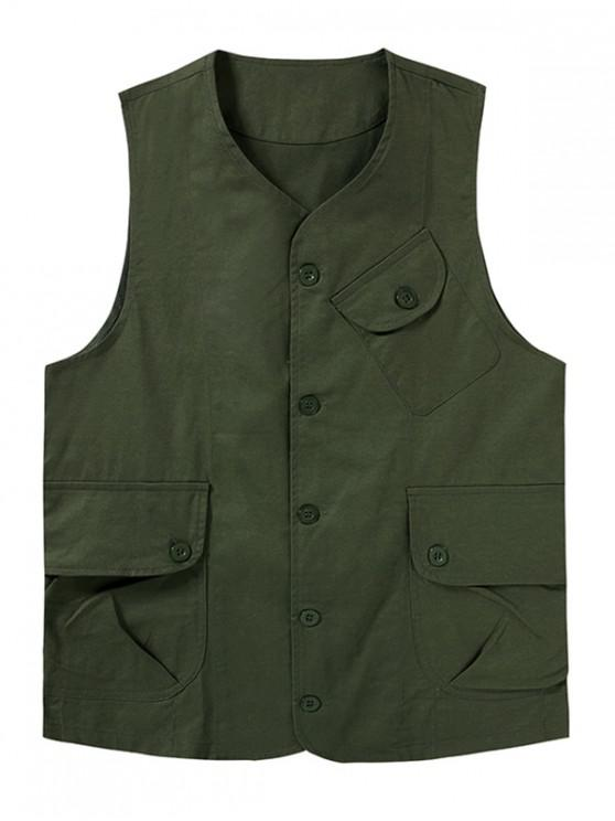 ladies Plain Button Up Flap Pockets Outdoor Vest - ARMY GREEN S