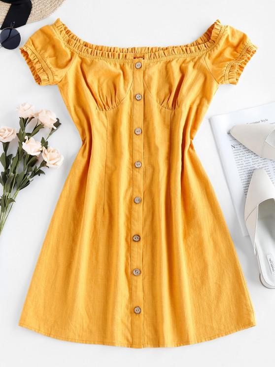 online ZAFUL Ruffle Puff Sleeve Mini Dress - YELLOW M